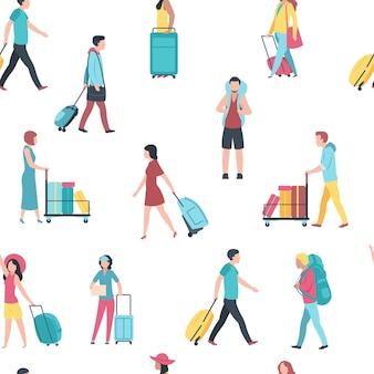 Naadloos patroon met de illustratie van reismensen