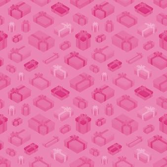 Naadloos patroon met de isometrische gekleurde geschenkdozen