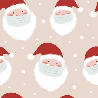 Naadloos patroon met de kerstman in medisch gezichtsmasker