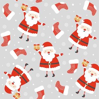 Naadloos patroon met de kerstman. kerst patroon.