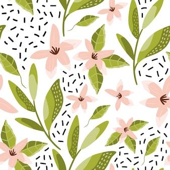 Naadloos patroon met de lentebloem.