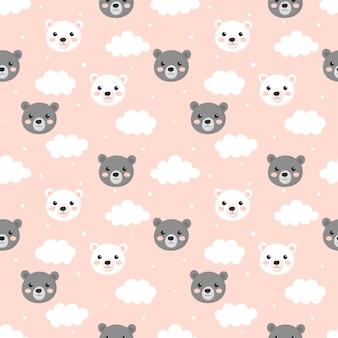 Naadloos patroon met de teddyberen van de beeldverhaalbaby