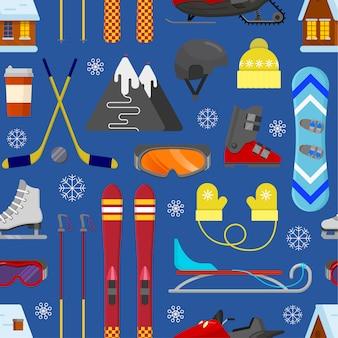 Naadloos patroon met de winterapparatuur
