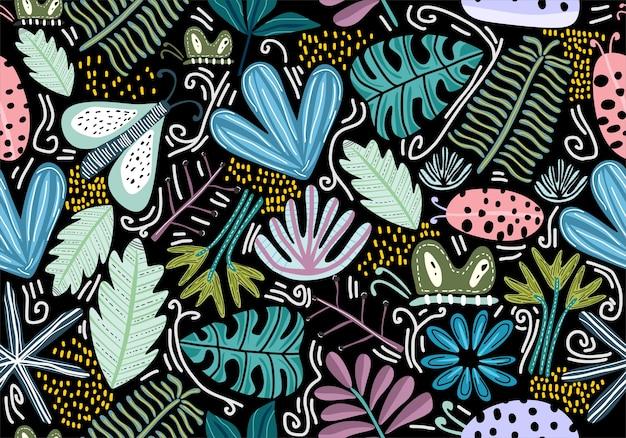 Naadloos patroon met decoratieve bloemen.
