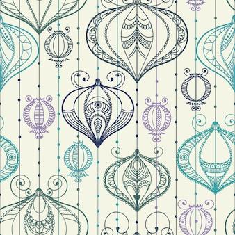 Naadloos patroon met decoratieve elementen.