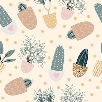 Naadloos patroon met decoratieve kamerplanten. plat kleurrijke vectorillustratie met gouden textuur.