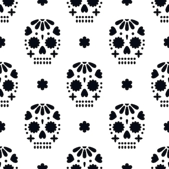 Naadloos patroon met decoratieve schedels