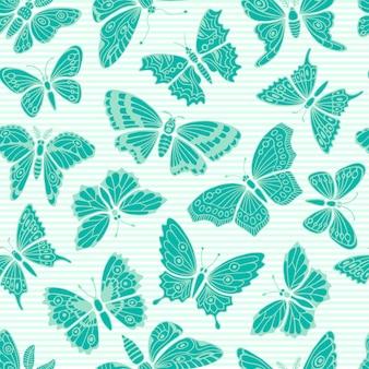 Naadloos patroon met decoratieve vlinders.