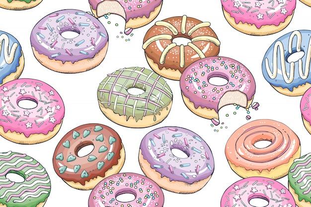 Naadloos patroon met desserts