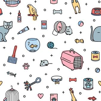 Naadloos patroon met dierenwinkelartikelen en schattige huisdieren op wit