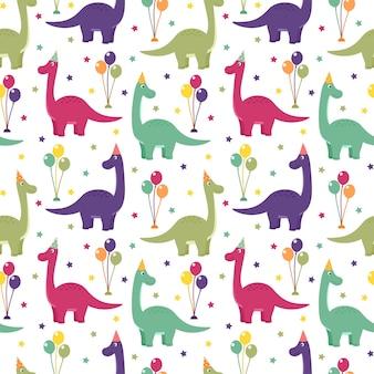 Naadloos patroon met dinosaurussen, ballonnen en sterren, vectorillustratie
