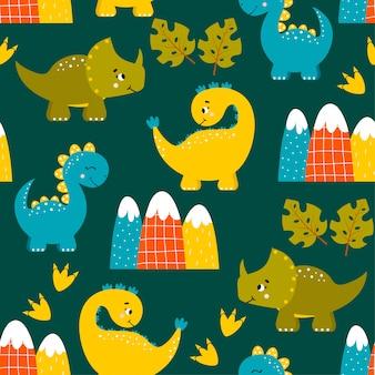 Naadloos patroon met dinosaurussen en bergen