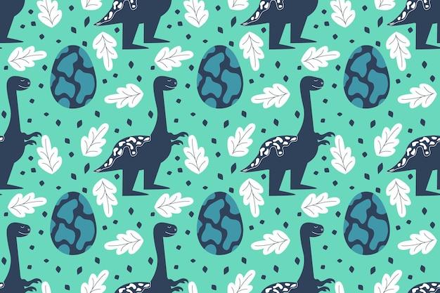 Naadloos patroon met dinosaurussen en een ei tyrannosaurus glimlach vectorillustratie in een vlakke stijl