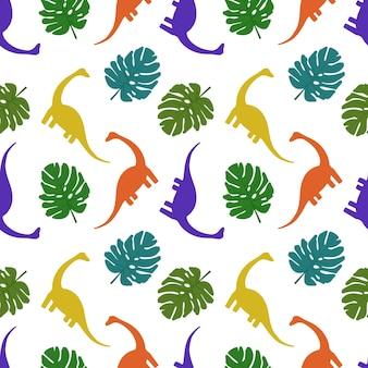 Naadloos patroon met dinosaurussen en palmbladeren print van silhouetten van veelkleurige diplodocus en...