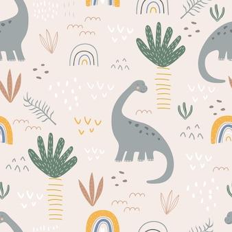 Naadloos patroon met dinosaurussen en palmbomen op een gekleurde achtergrond vectorillustratie