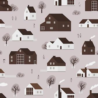 Naadloos patroon met district van plattelandshuisjes in scandinavische stijl en stadsbewoners. achtergrond met landelijke houten gebouwen van ecologische architectuur. platte zwart-wit vectorillustratie.