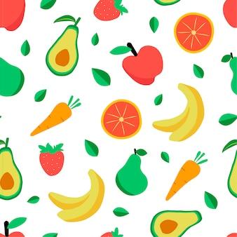 Naadloos patroon met diverse tropische vruchten op wit.