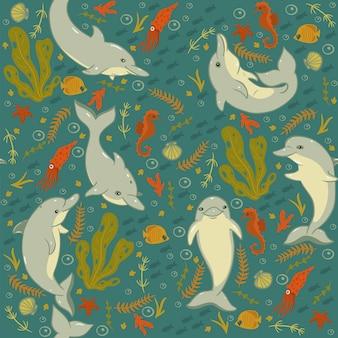 Naadloos patroon met dolfijnen en zeedieren.