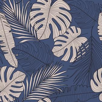 Naadloos patroon met donkere monsterabladeren op blauwe achtergrond