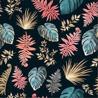 Naadloos patroon met donkere tropische bladeren.