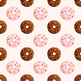 Naadloos patroon met donuts in glazuur