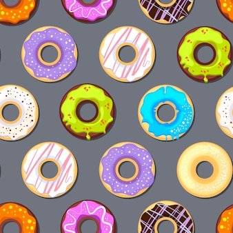 Naadloos patroon met donuts