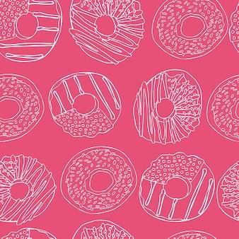 Naadloos patroon met doodle donuts op roze achtergrond