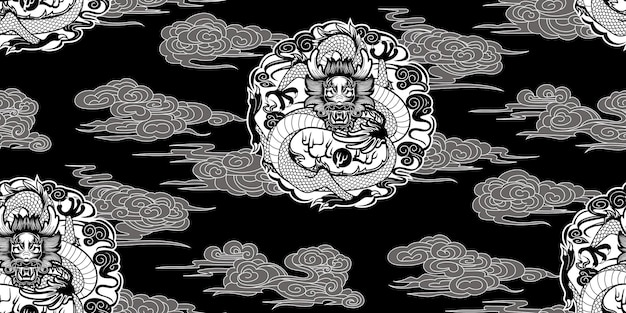 Naadloos patroon met draken in chinese stijl