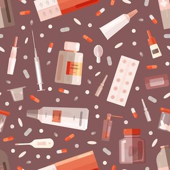 Naadloos patroon met drugs of medicijnen in flessen, potten, buizen, blisters, ampullen en medische hulpmiddelen