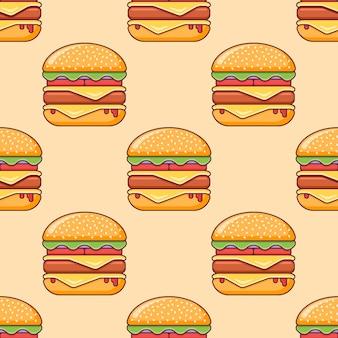 Naadloos patroon met dubbele cheeseburger.