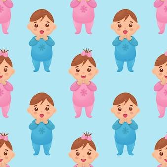 Naadloos patroon met een afbeelding van een babymeisje en een jongen