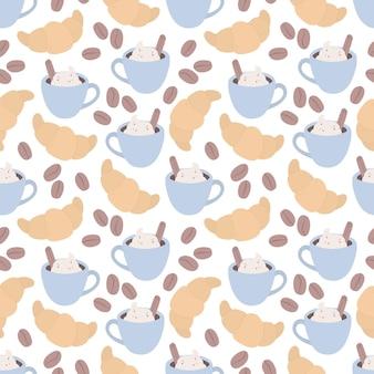 Naadloos patroon met een croissant een kopje koffie en koffiebonen