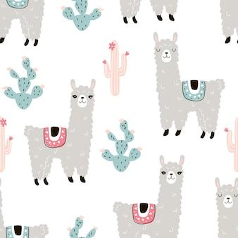 Naadloos patroon met een dierlijke lama en cactussen op een witte achtergrond vectorillustratie