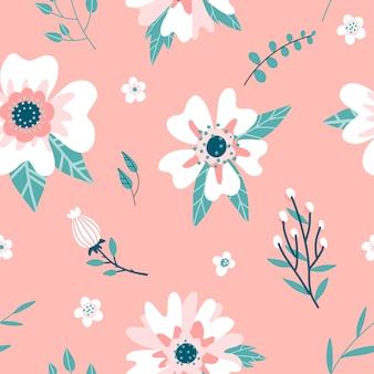 Naadloos patroon met een dogrosebloemen, rozenbottelknop en takjes. handgetekende abstracte platte hand getrokken flora achtergrond.