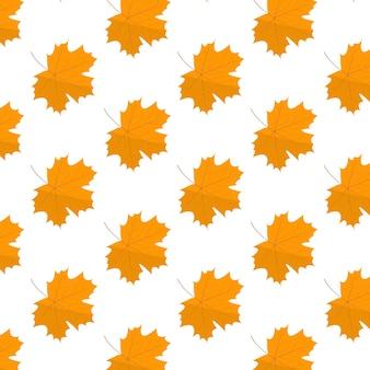 Naadloos patroon met een esdoornblad herfstpatroon in vlakke stijl