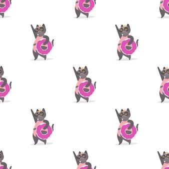 Naadloos patroon met een grijze kat met een roze rubberen ring