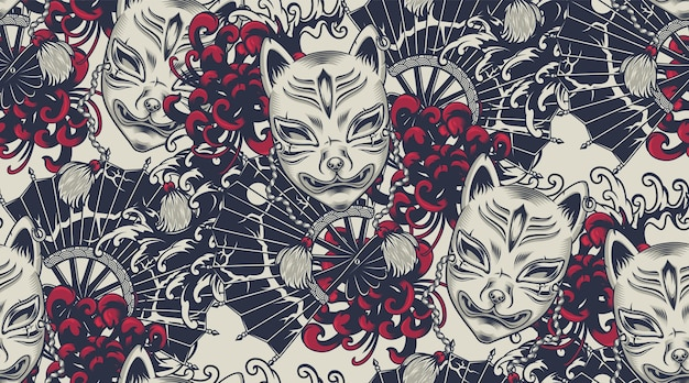 Naadloos patroon met een kitsune-masker op het japanse thema. alle kleuren staan in een aparte groep. ideaal om op stof en decoratie te printen