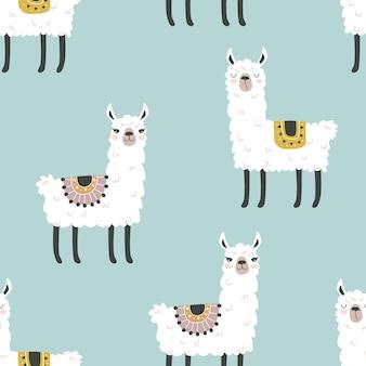 Naadloos patroon met een lama op een gekleurde achtergrond vectorillustratie om op stof te bedrukken