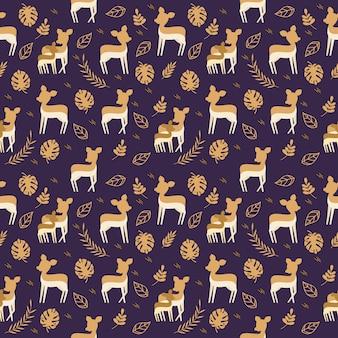 Naadloos patroon met een muis beste karakter en tropische bladeren.