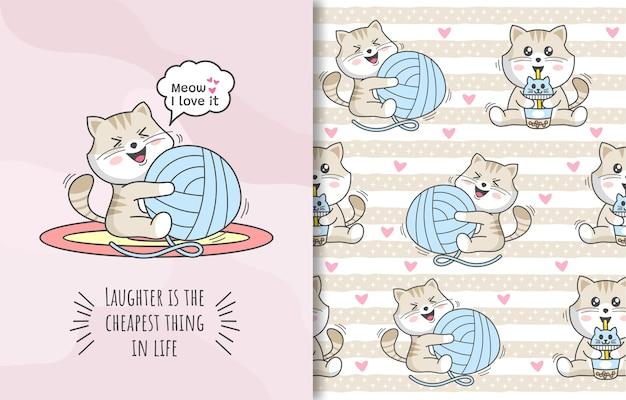 Naadloos patroon met een schattig gelukkig kattenkarakter