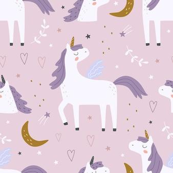 Naadloos patroon met een schattige eenhoorn op een gekleurde achtergrond vectorillustratie om af te drukken
