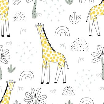 Naadloos patroon met een schattige giraf op een witte achtergrond vectorillustratie