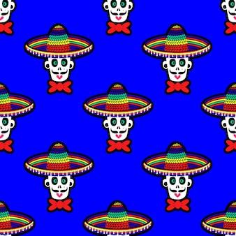 Naadloos patroon met een schedel in een sombrero-hoed