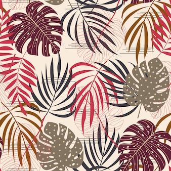 Naadloos patroon met een verscheidenheid aan tropische bladeren en planten