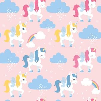 Naadloos patroon met eenhoorns en wolken