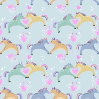 Naadloos patroon met eenhoorns, harten en sterren.