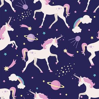 Naadloos patroon met eenhoorns, hemel. planeten en regenboog.
