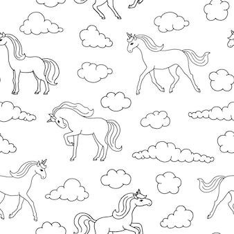 Naadloos patroon met eenhoorns.