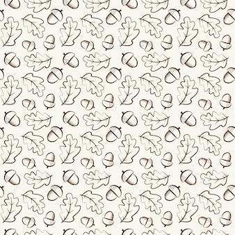 Naadloos patroon met eikels en eikenbladeren in kaderstijl