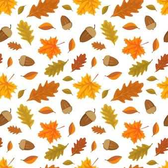 Naadloos patroon met eikels en oranje esdoorn en eikenbladeren heldere herfstprint met de natuur en voor...